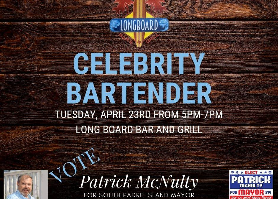 Patrick McNulty will be the Celebrity Bartender at Longboards